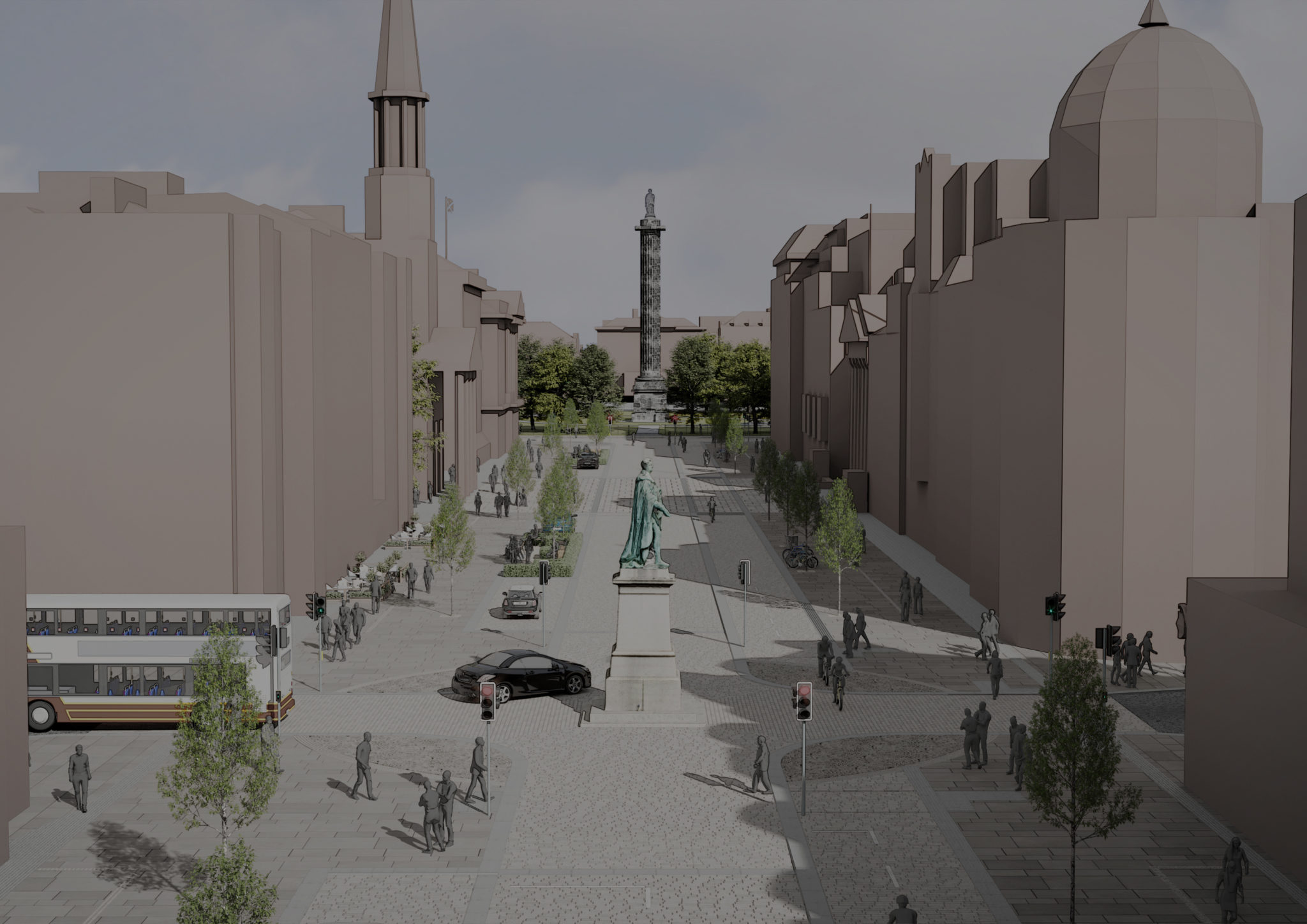 Concept Design of George Street and First New Town - looking from Hanover Street to the east